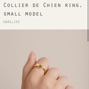SALE!HERMES collier de chien rose gold ringNWT